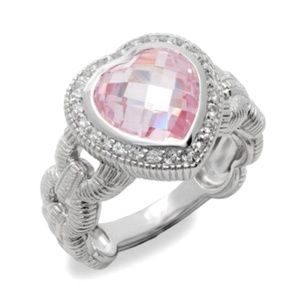 Judith Ripka Fontaine Sapphire Pink Crystal RING